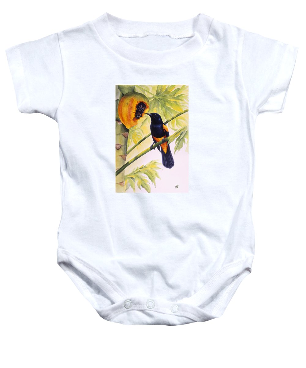 Chris Cox Baby Onesie featuring the painting St. Lucia Oriole And Papaya by Christopher Cox
