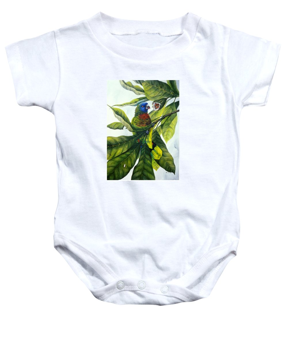 Chris Cox Baby Onesie featuring the painting St. Lucia Parrot And Fruit by Christopher Cox