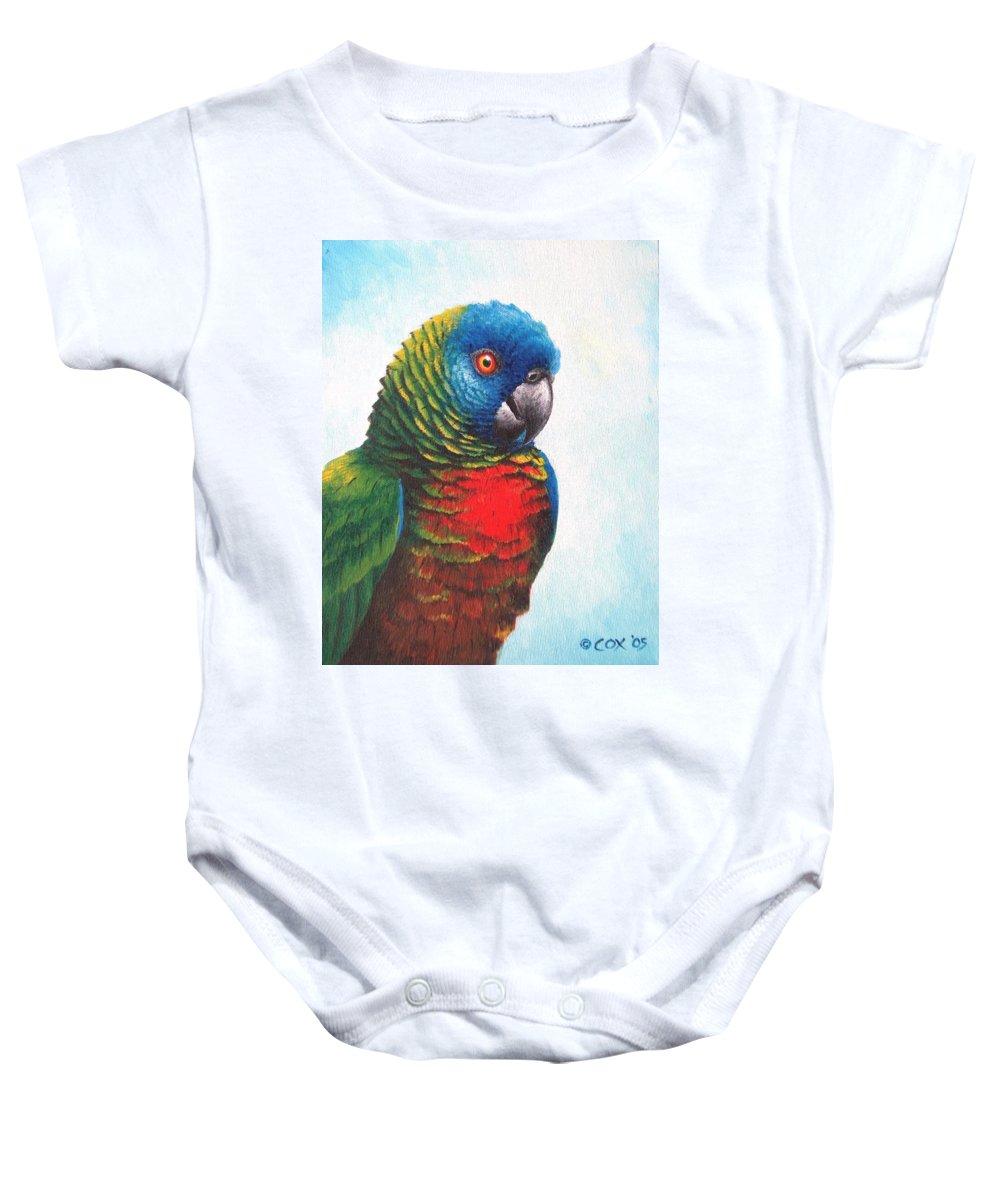 Chris Cox Baby Onesie featuring the painting St. Lucia Parrot by Christopher Cox