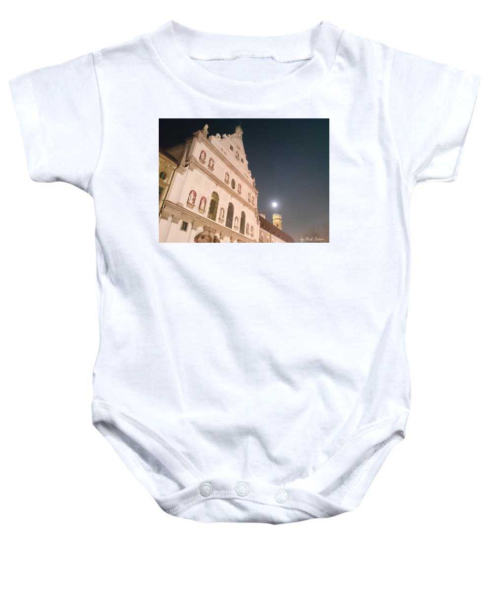 St. Michael Baby Onesie featuring the photograph St. Michael, Lady And Moon by Heidi Sieber