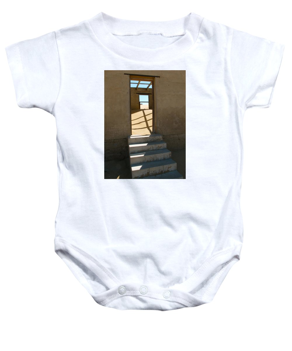 Still Photo Baby Onesie featuring the photograph Stairs To The Sky by Mary Katzke