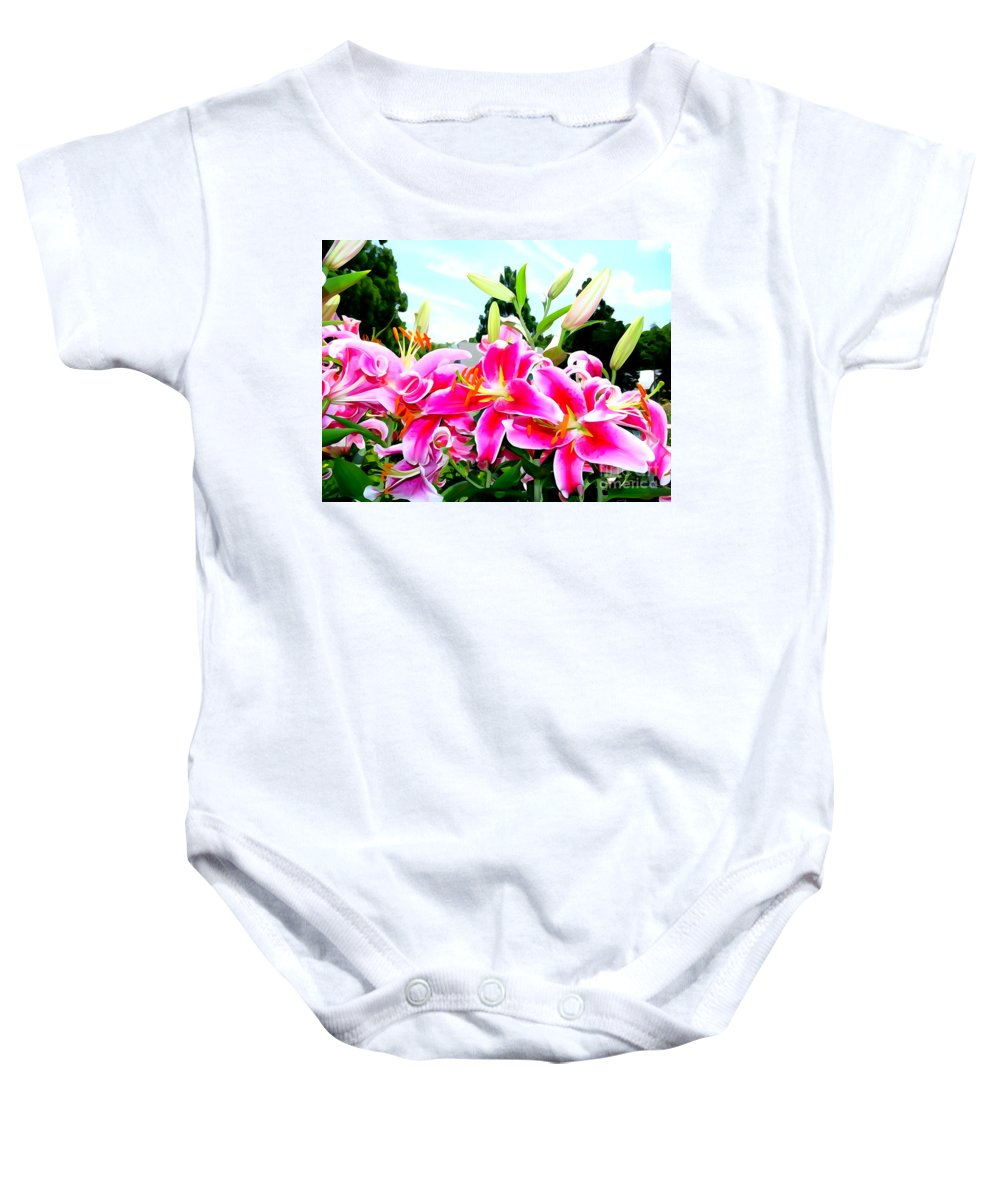 Abstract Baby Onesie featuring the photograph Stargazer Lilies #1 by Ed Weidman