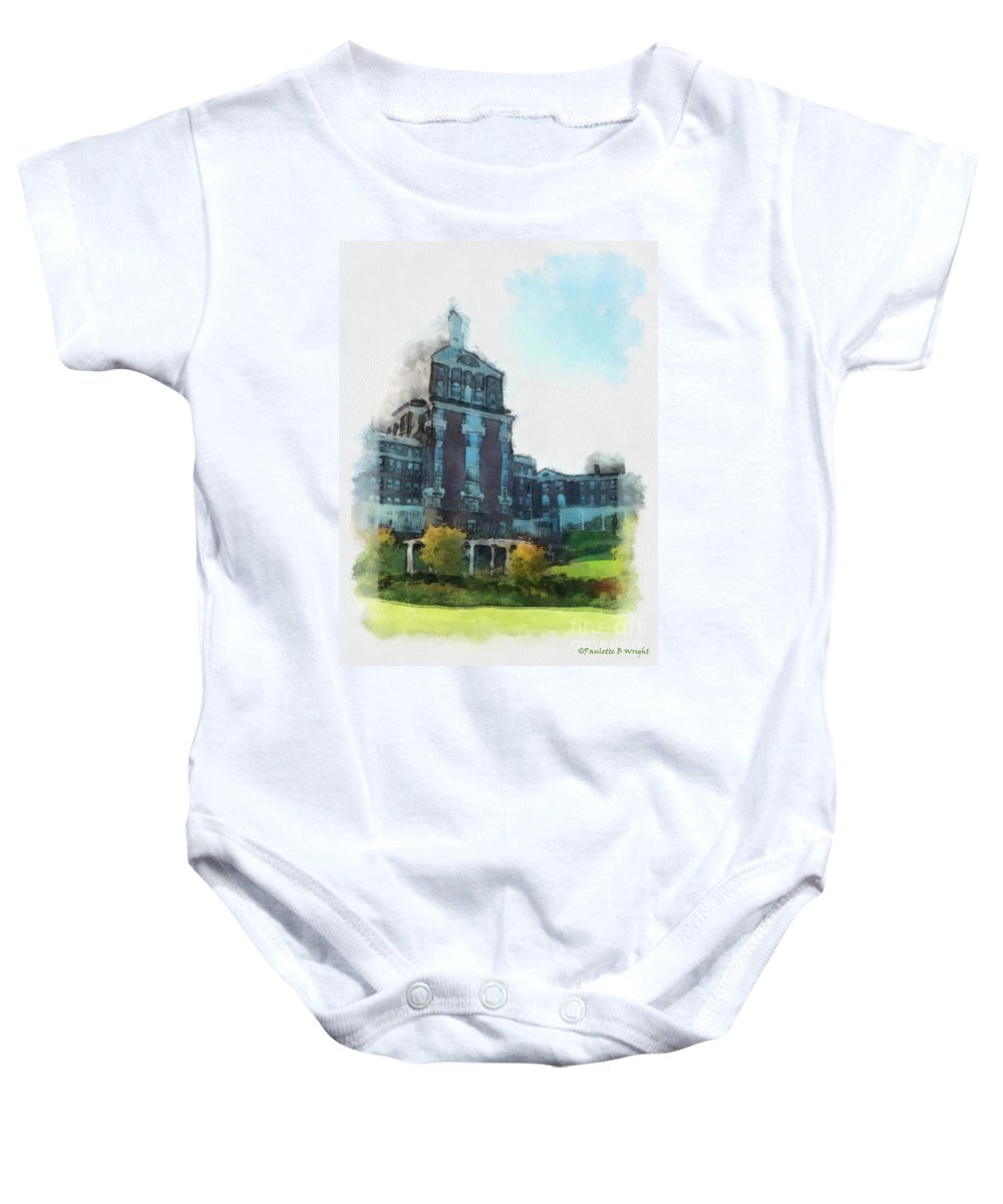 Homestead Baby Onesie featuring the painting Stately Beauty by Paulette B Wright