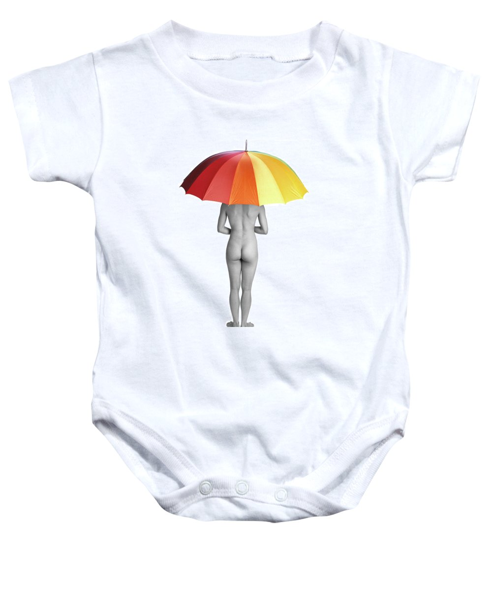 Umbrella Baby Onesie featuring the photograph Cool And Dry by Herman Robert