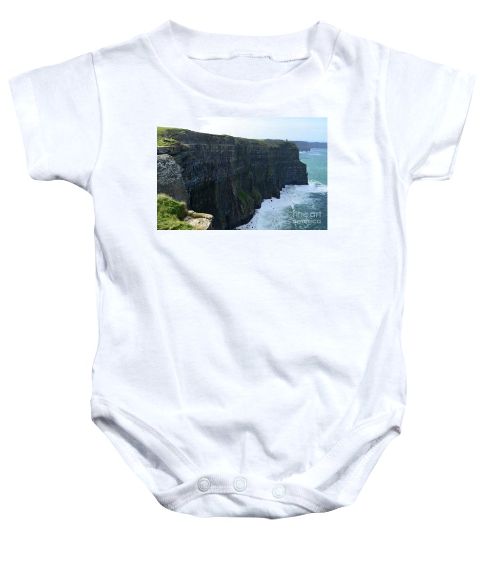 Cliffs-of-moher Baby Onesie featuring the photograph Steep Sheer Sea Cliff's Known As The Cliff's Of Moher by DejaVu Designs