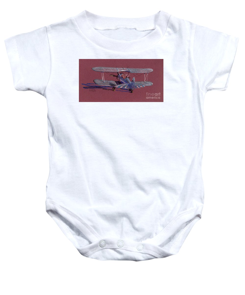 Steerman Biplane Baby Onesie featuring the drawing Steerman Biplane by Donald Maier