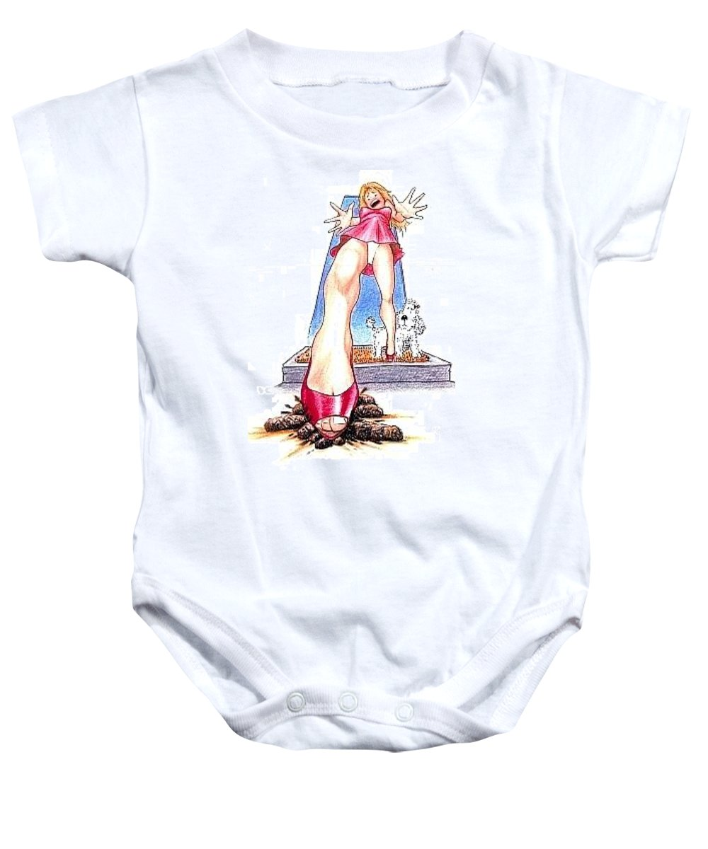 Humor Get Even Baby Onesie featuring the drawing Steppin Out by Bruce Lennon