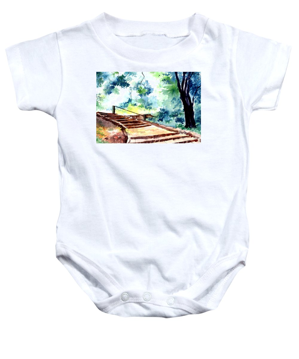 Landscape Baby Onesie featuring the painting Steps To Eternity by Anil Nene