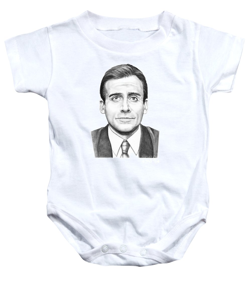 Drawing Baby Onesie featuring the drawing Steve Carell by Murphy Elliott