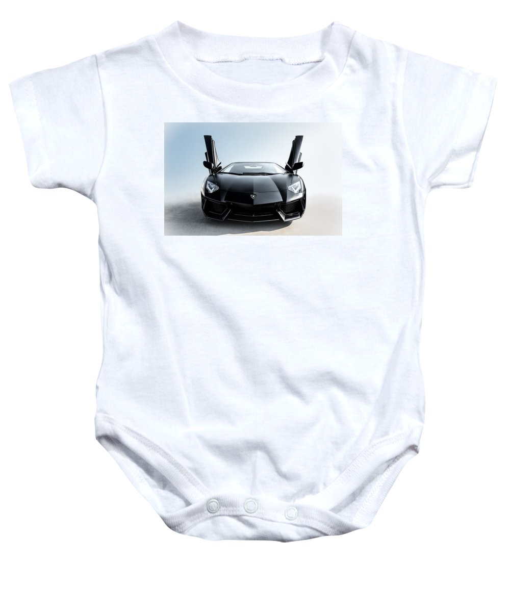 Black Baby Onesie featuring the photograph Stick 'em Up by Douglas Pittman