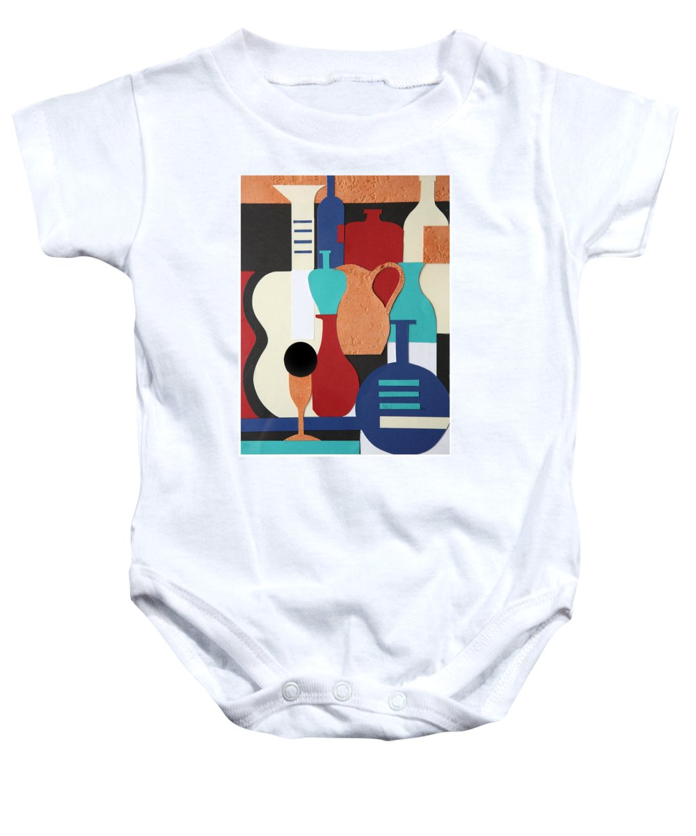 Still Life Baby Onesie featuring the mixed media Still Life Paper Collage Of Wine Glasses Bottles And Musical Instruments by Mal Bray
