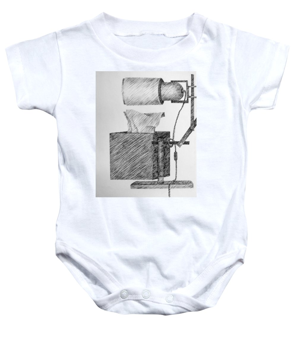 Still Life Baby Onesie featuring the drawing Still Life With Lamp And Tissues by Michelle Calkins
