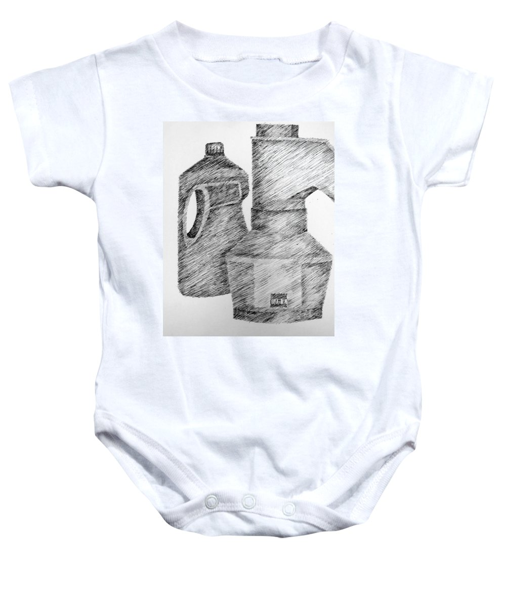 Still Life Baby Onesie featuring the drawing Still Life With Popcorn Maker And Laundry Soap Bottle by Michelle Calkins