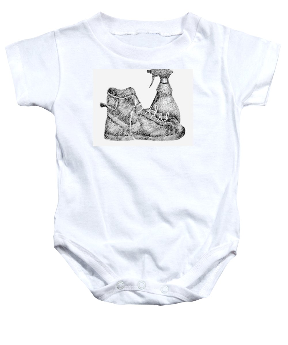 Pen Baby Onesie featuring the drawing Still Life With Shoe And Spray Bottle by Michelle Calkins