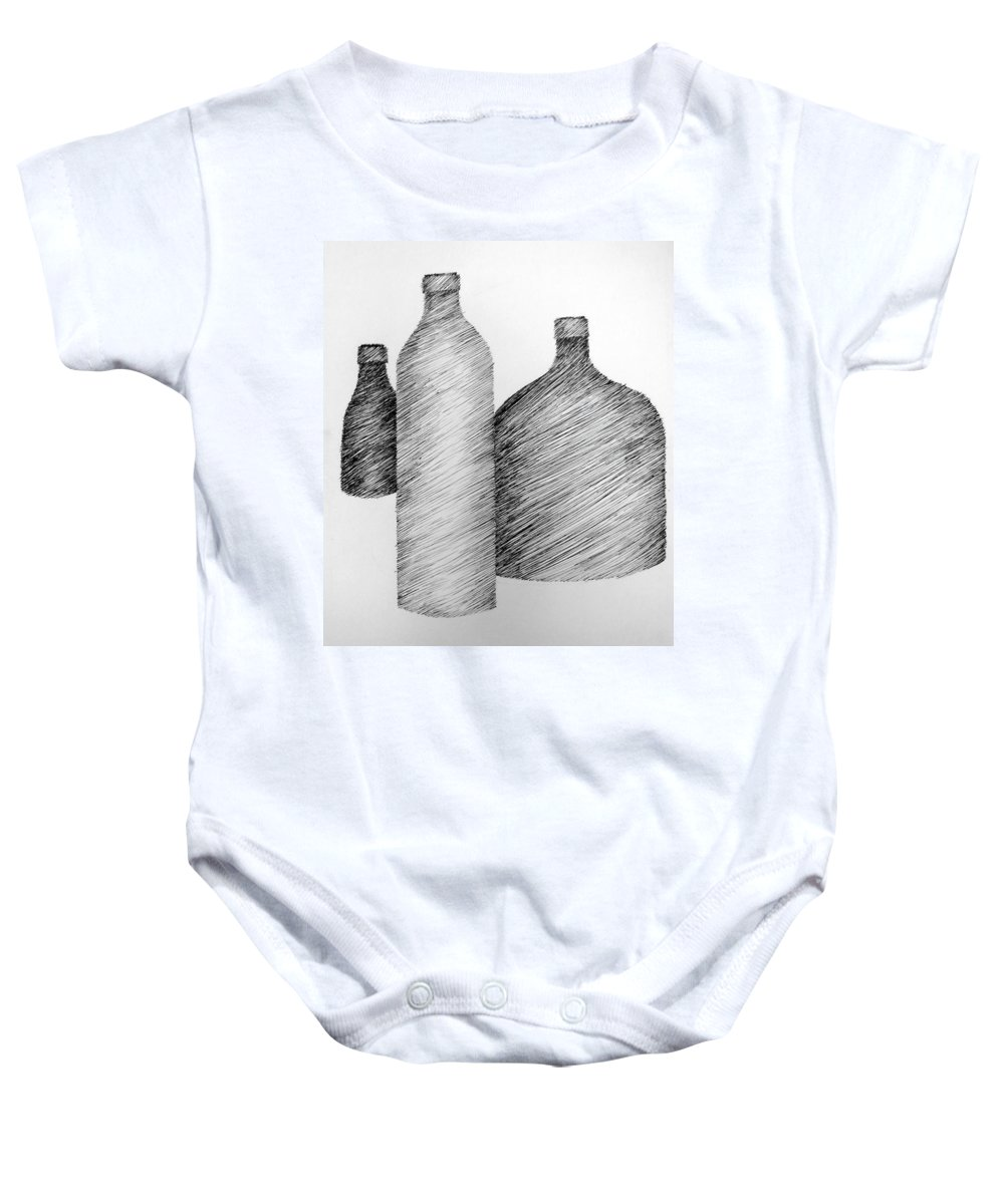Still Life Baby Onesie featuring the drawing Still Life With Three Bottles by Michelle Calkins