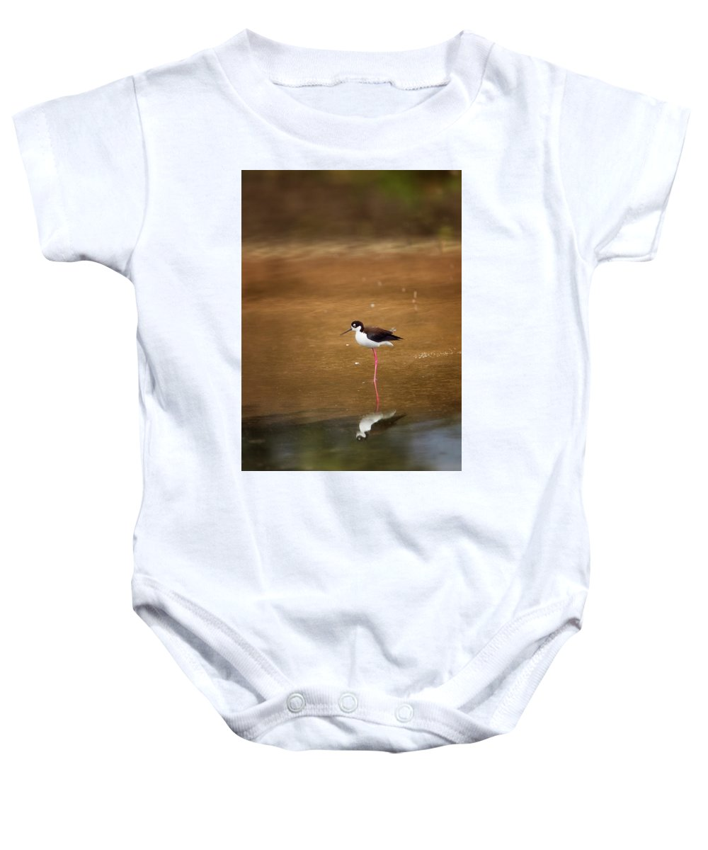 Stilt Baby Onesie featuring the photograph Stilt And Reflection by Susan Gary