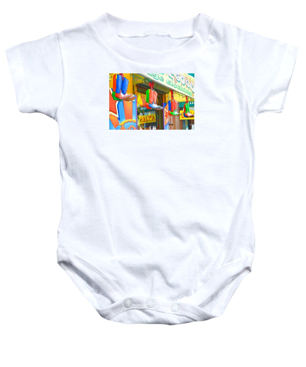 Boots Baby Onesie featuring the painting Store In New York City 1 by Jeelan Clark