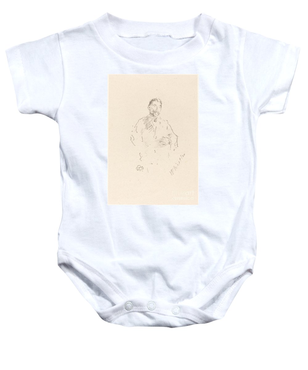 Baby Onesie featuring the drawing St?phane Mallarm? by James Mcneill Whistler