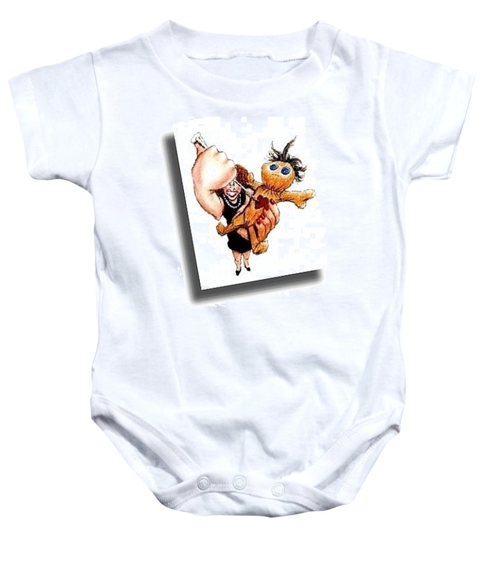Humor Get Even Baby Onesie featuring the drawing Straight From The Heart by Bruce Lennon