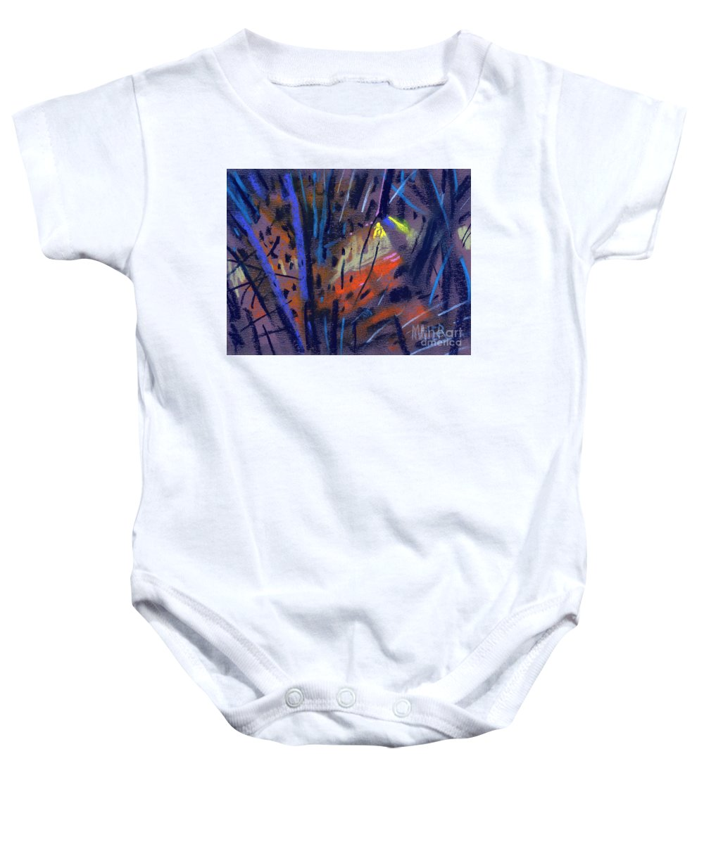 Abstract Baby Onesie featuring the drawing strange Lights by Donald Maier