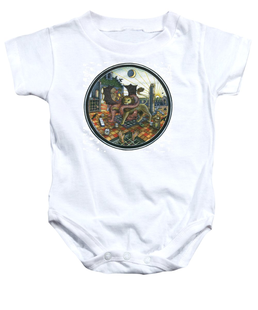 Dragon Baby Onesie featuring the drawing Strange Reverie by Bill Perkins