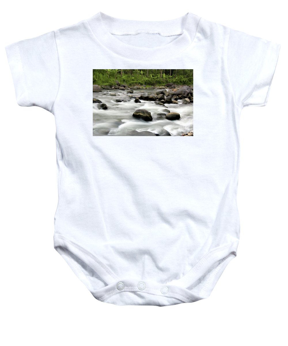 Stream Baby Onesie featuring the photograph Stream by Charuhas Images
