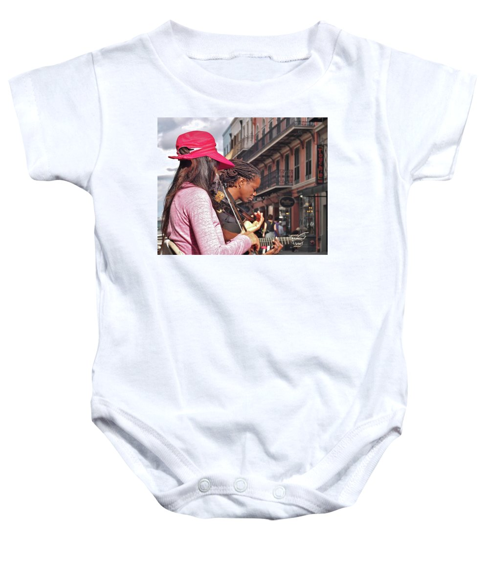 Street Musicians Baby Onesie featuring the photograph Street Musicians by William Morgan