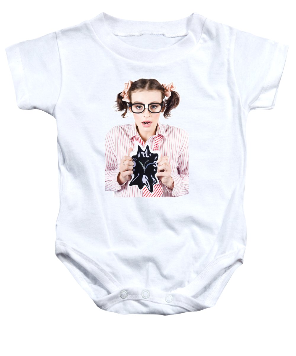 Action Baby Onesie featuring the photograph Stressed Business Person Running Out Of Time by Jorgo Photography - Wall Art Gallery
