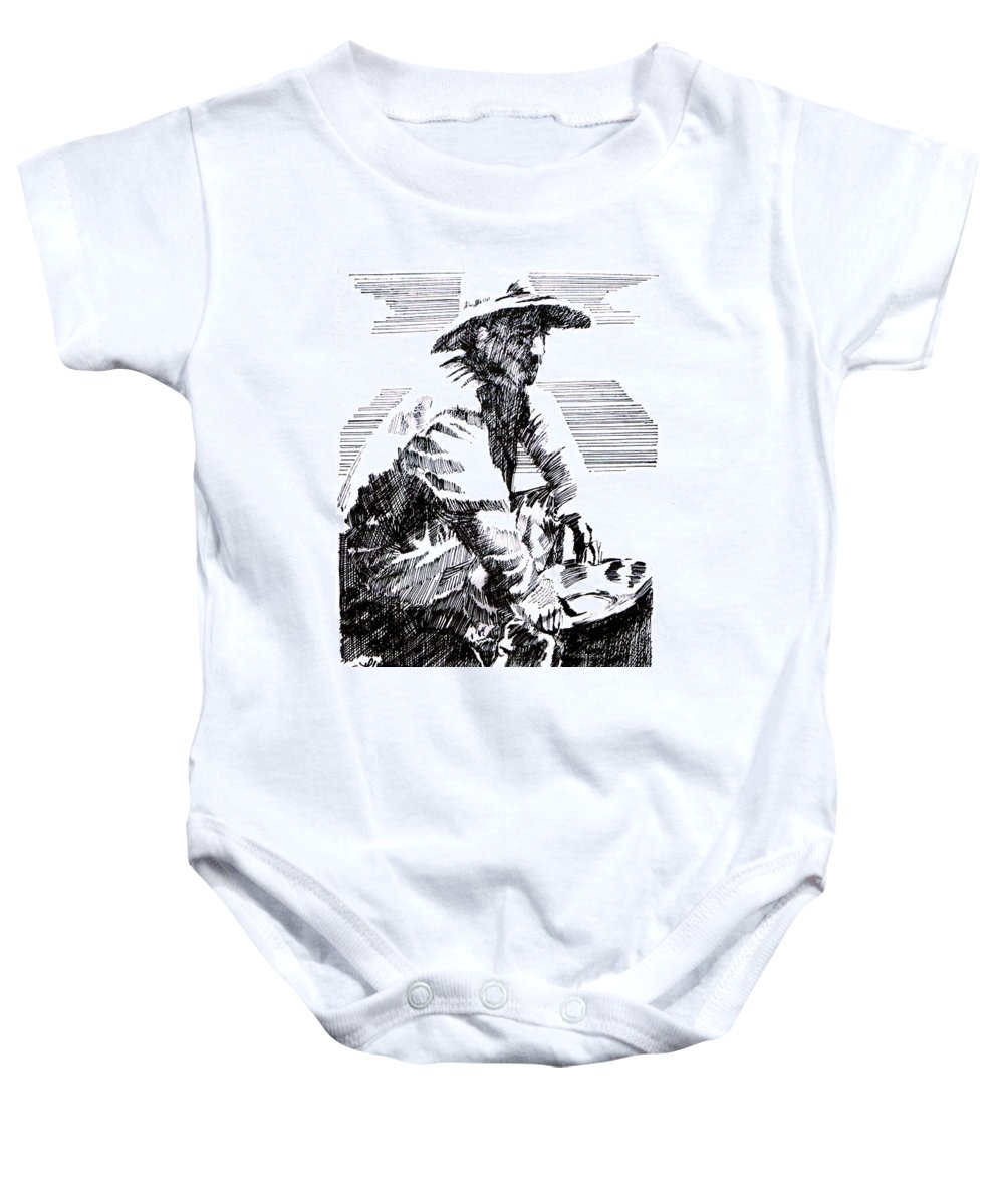 1850's Old West Baby Onesie featuring the drawing Striking It Rich by Seth Weaver