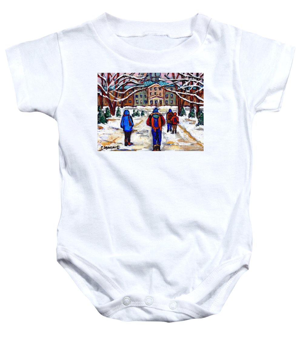 Mcgill Art Baby Onesie featuring the painting L'art De Mcgill University Tableaux A Vendre Montreal Art For Sale Petits Formats Mcgill Paintings by Carole Spandau