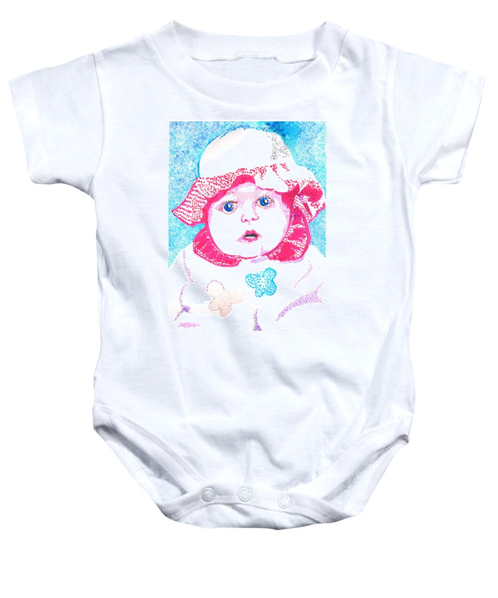 Baby Baby Onesie featuring the digital art Study In Blue And Pink by Seth Weaver
