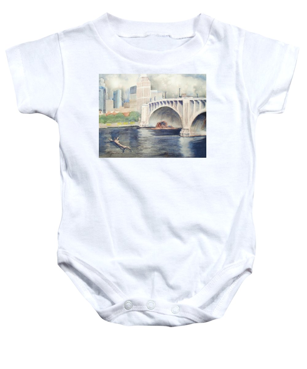 Scenery Baby Onesie featuring the painting Summer Rain by Marilyn Jacobson