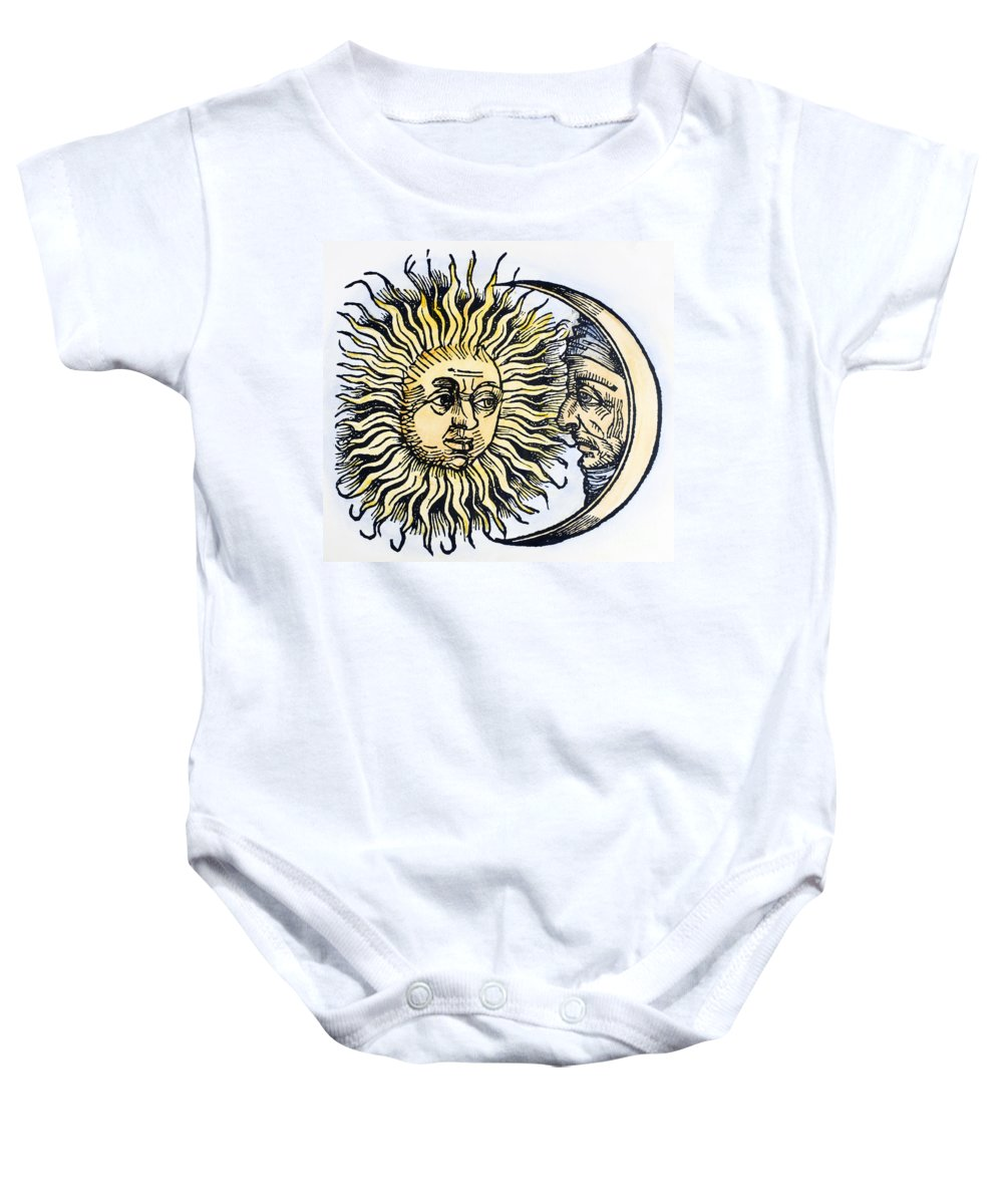 1493 Baby Onesie featuring the photograph Sun And Moon, 1493 by Granger