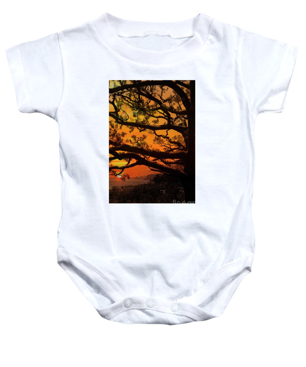 Sunset Baby Onesie featuring the photograph Sun Set At Rancho Palos Verdes, Cali by Jubi Art