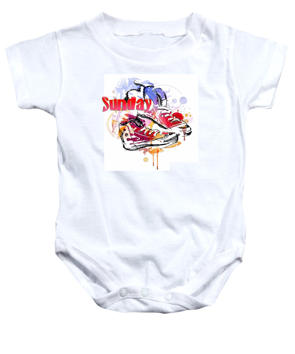 Comics Baby Onesie featuring the digital art Sunday by Don Kuing