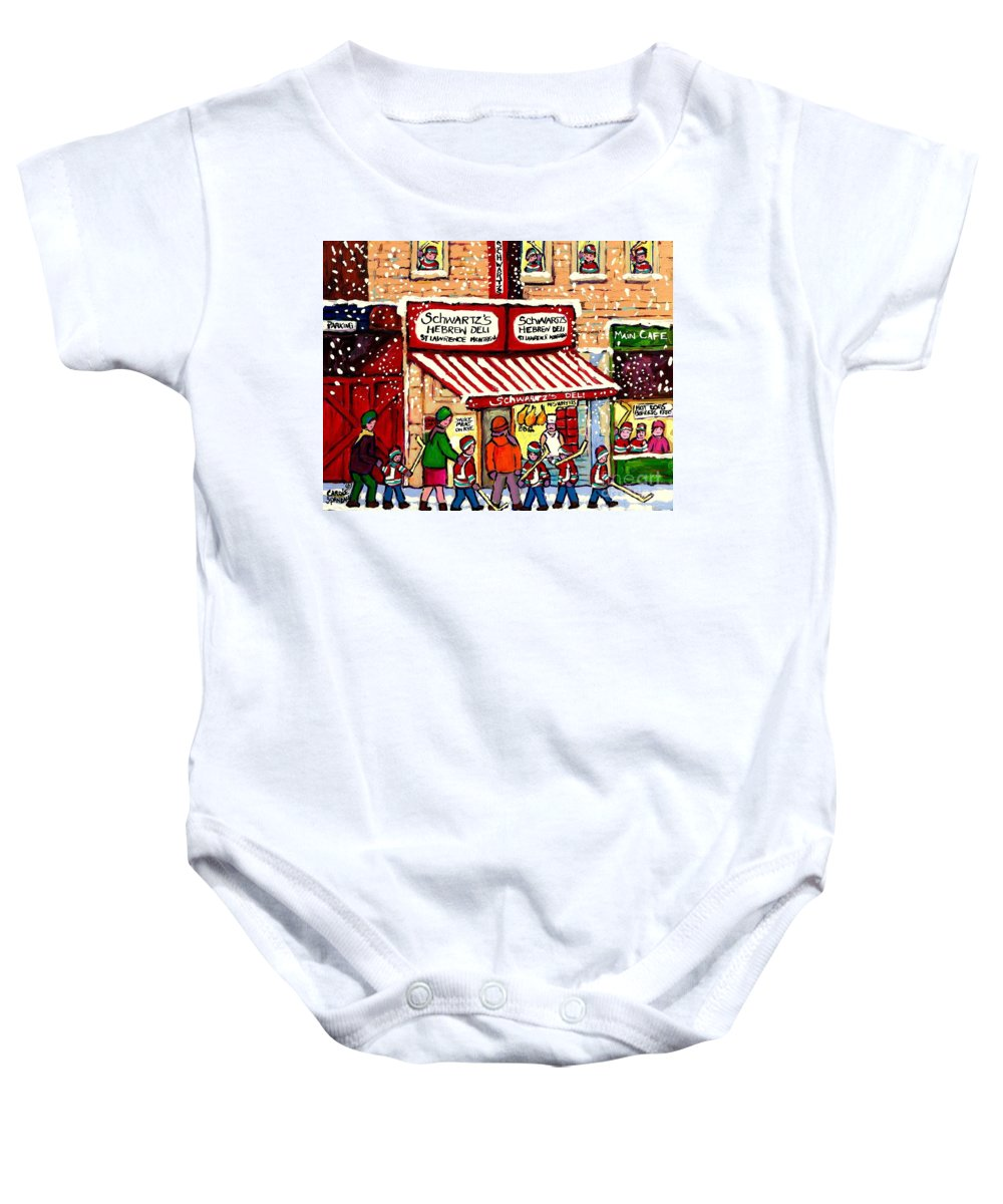 Montreal Baby Onesie featuring the painting Sunday Lineup At The Deli by Carole Spandau