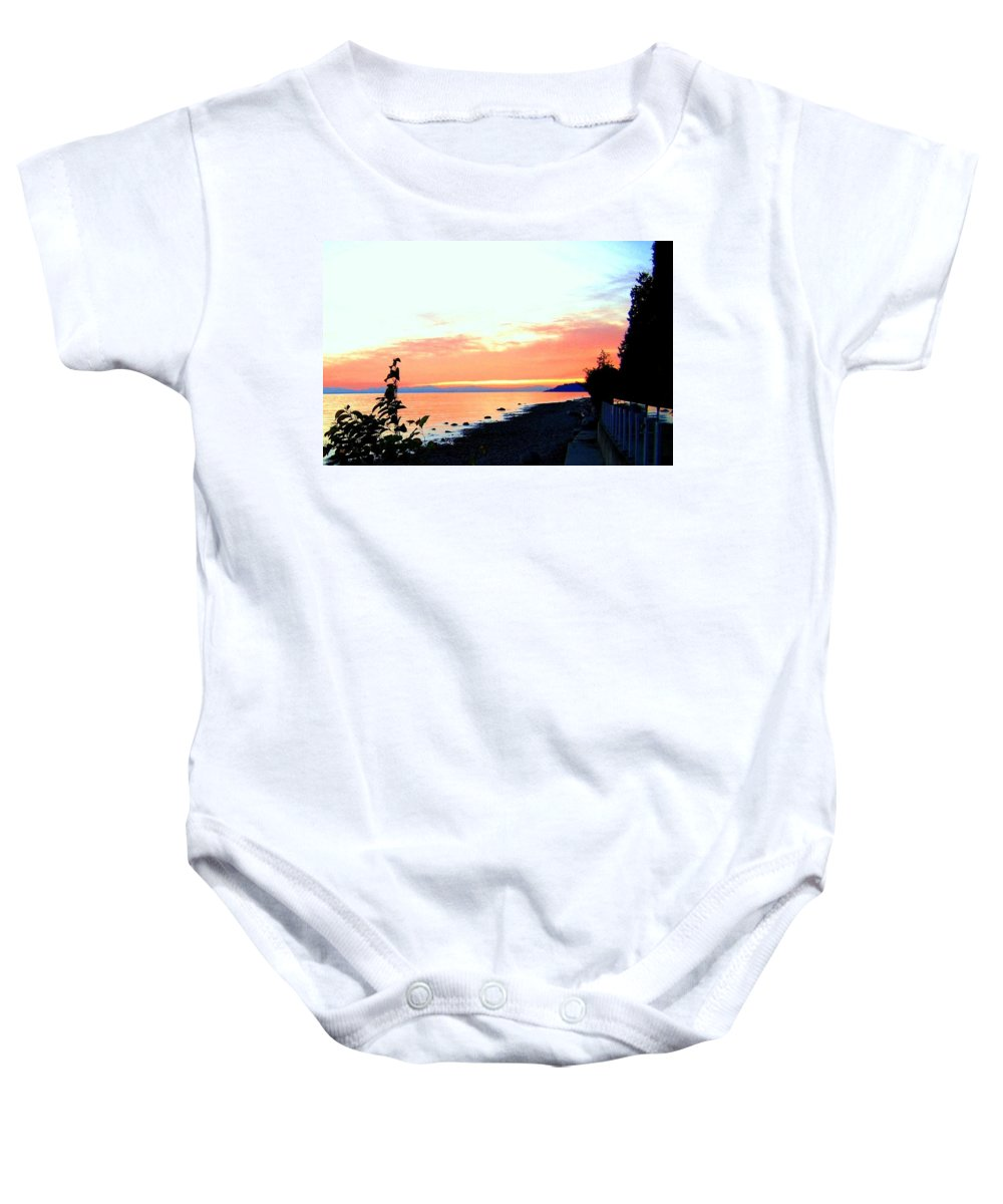 Sunset Baby Onesie featuring the photograph Sundown From West Vancouver by Will Borden
