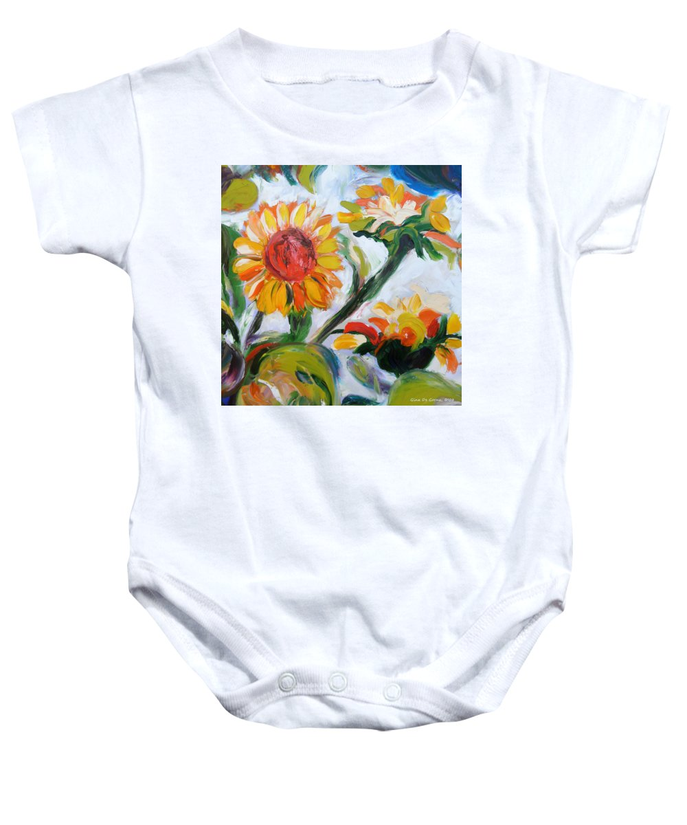 Flowers Baby Onesie featuring the painting Sunflowers 5 by Gina De Gorna