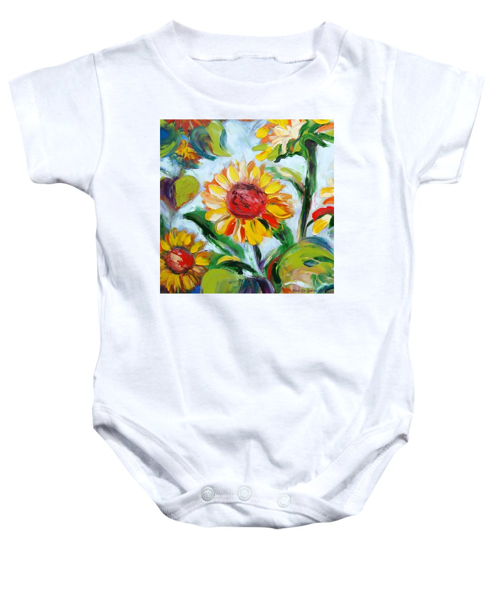 Flowers Baby Onesie featuring the painting Sunflowers 6 by Gina De Gorna