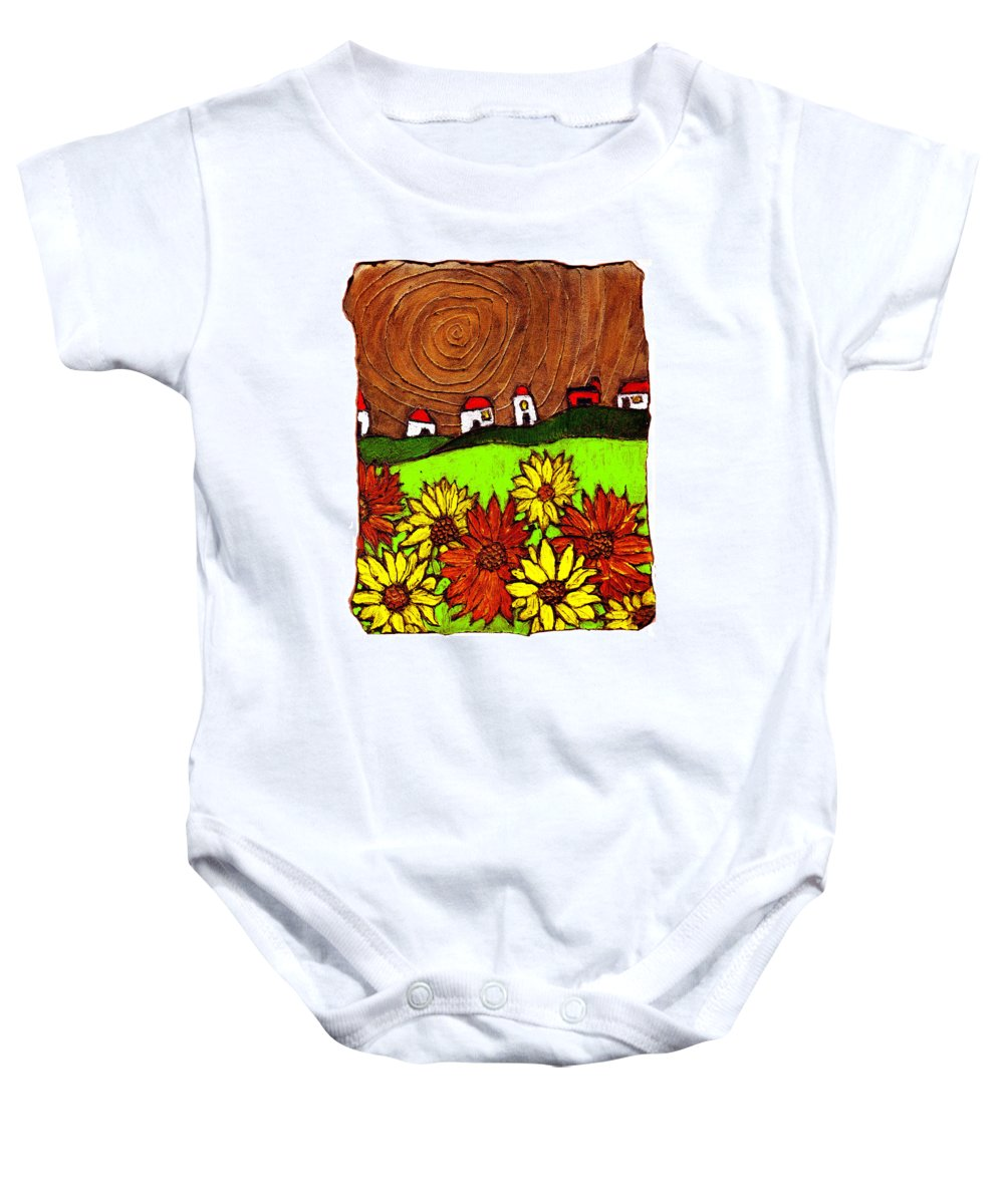 Flowers Baby Onesie featuring the painting Sunflowers And Fields by Wayne Potrafka