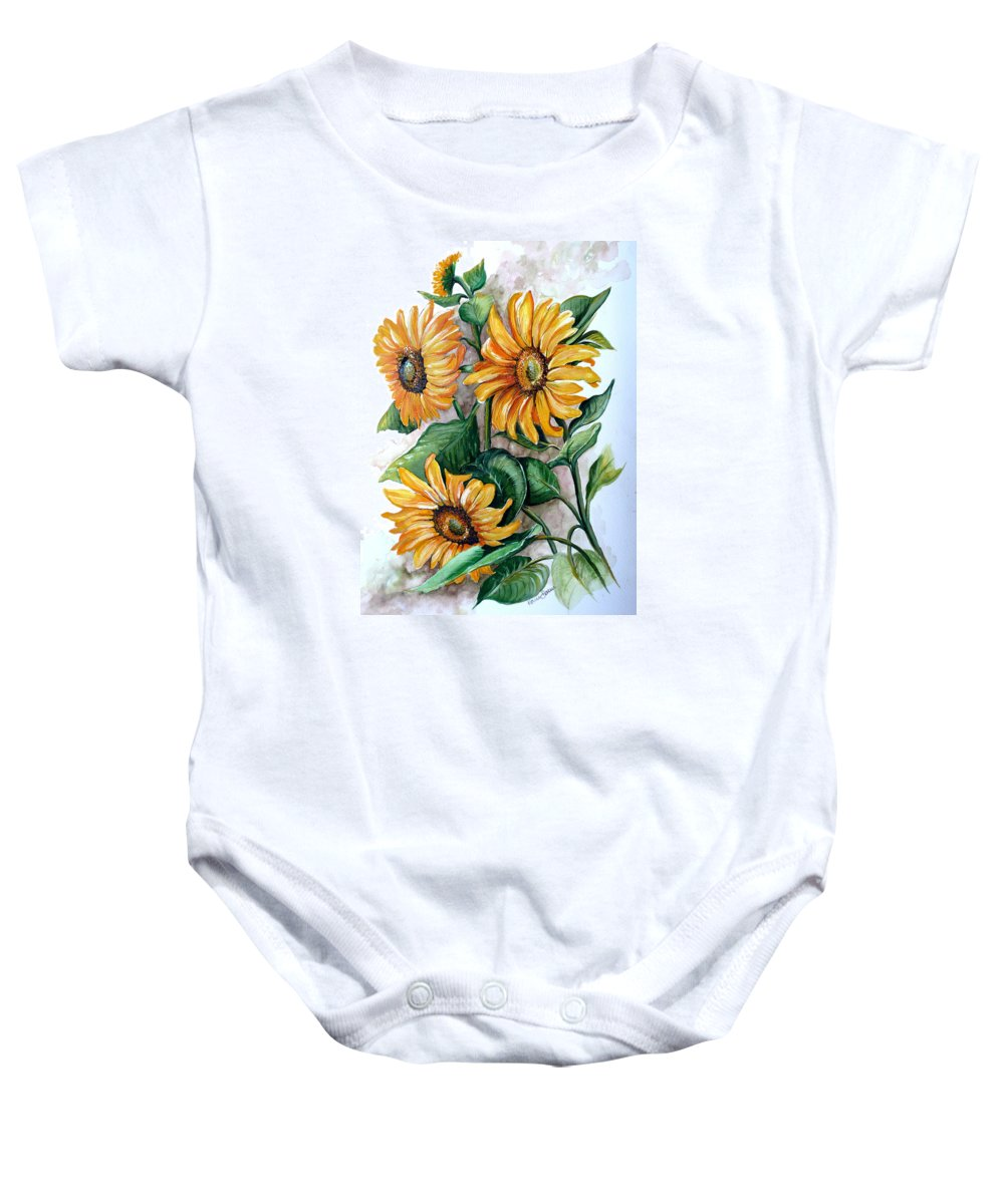 Flower Paintings Yellow Flower Paintings Floral Paintings Botanical Paintings  Sun Flower Paintings Greeting Card Paintings Canvas Paintings Prints Paintings  Baby Onesie featuring the painting Sunflowers by Karin Dawn Kelshall- Best