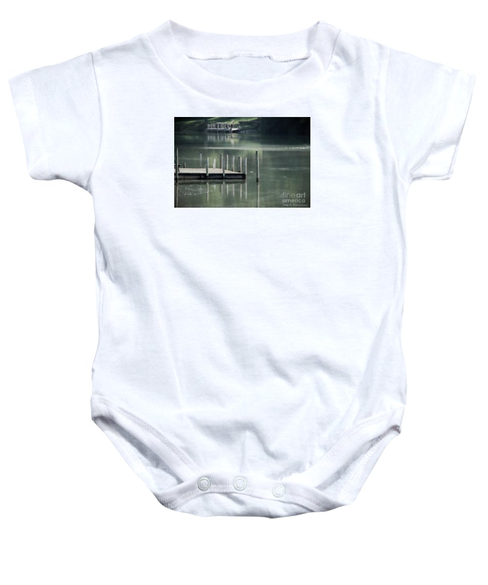 Dock Baby Onesie featuring the photograph Sunlit Dock by Todd A Blanchard