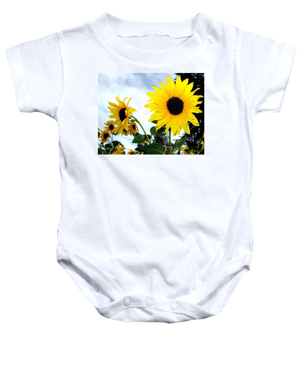 Sunflowers Baby Onesie featuring the photograph Sunny Slopes by Will Borden