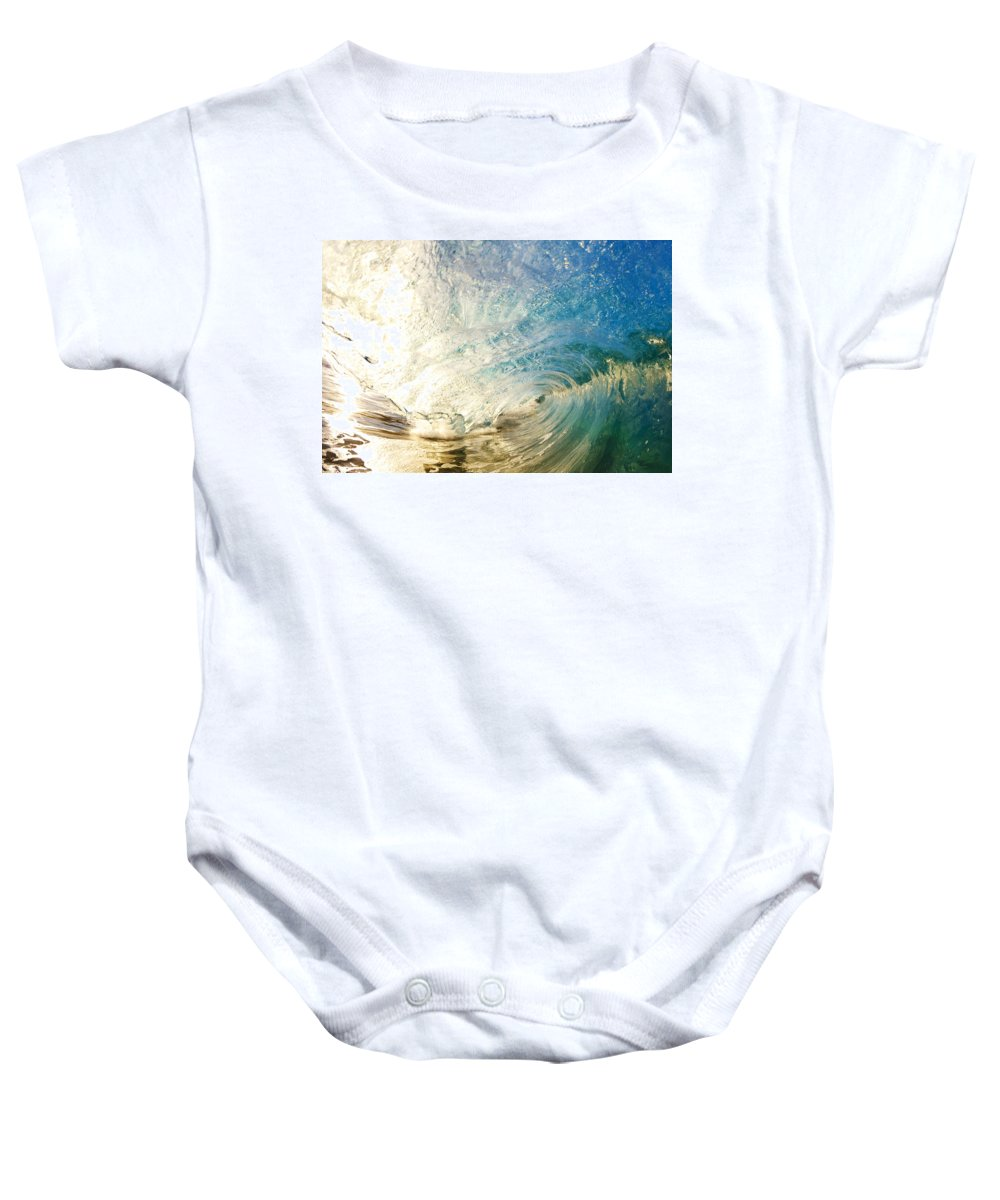 Amazing Baby Onesie featuring the photograph Sunrise And Wave by MakenaStockMedia