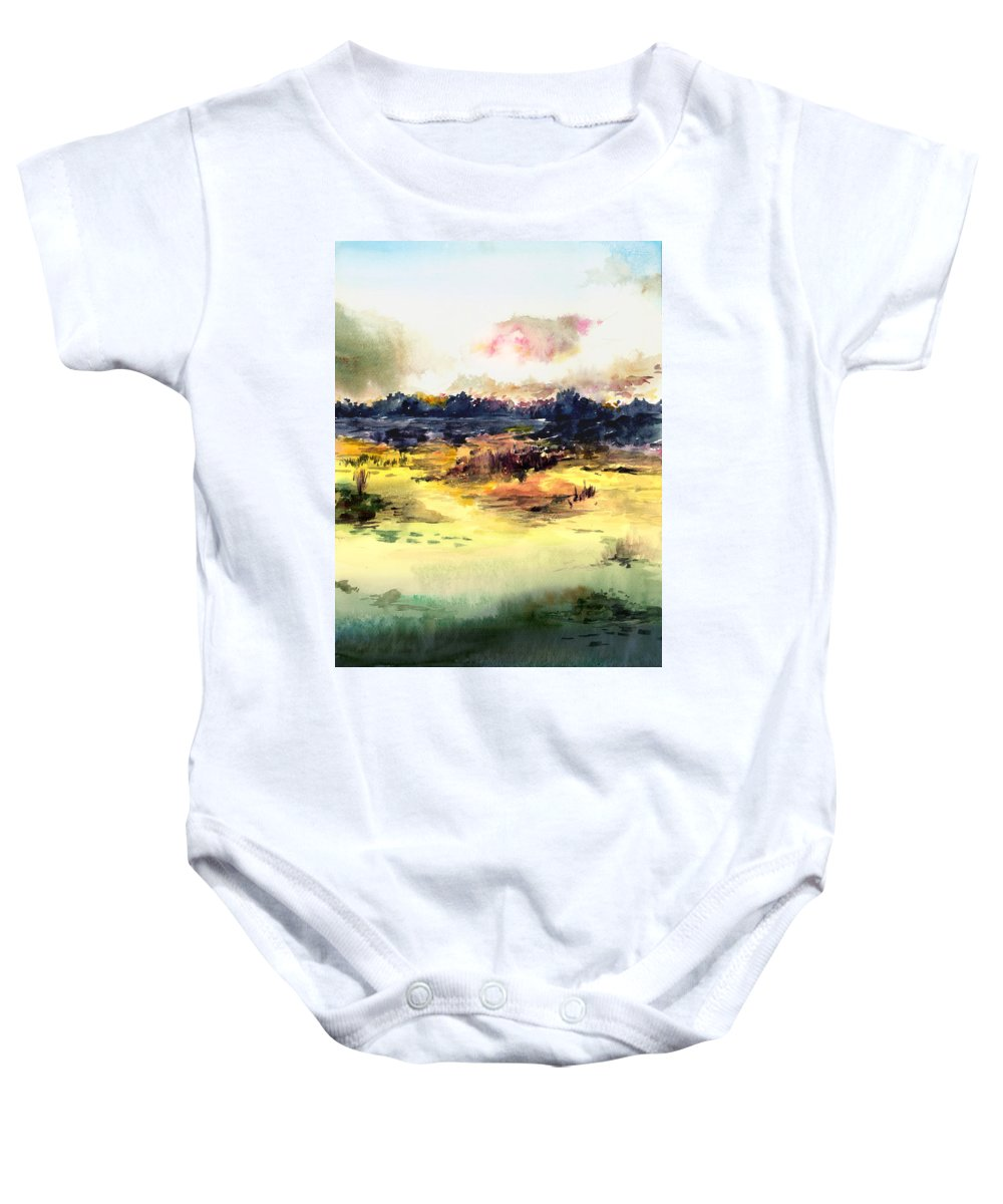 Landscape Water Color Sky Sunrise Water Watercolor Digital Mixed Media Baby Onesie featuring the painting Sunrise by Anil Nene