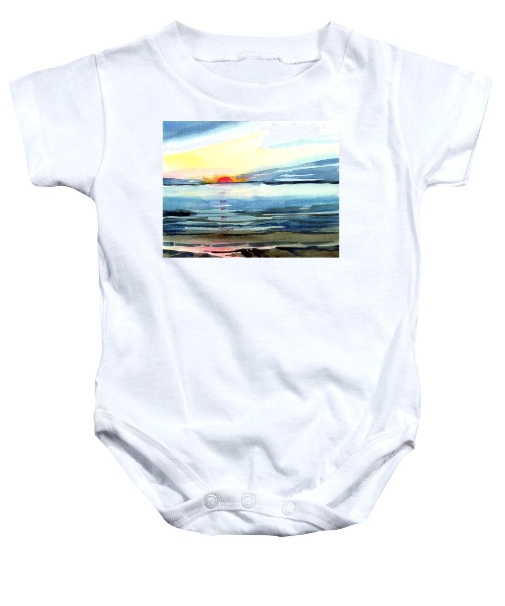 Landscape Seascape Ocean Water Watercolor Sunset Baby Onesie featuring the painting Sunset by Anil Nene