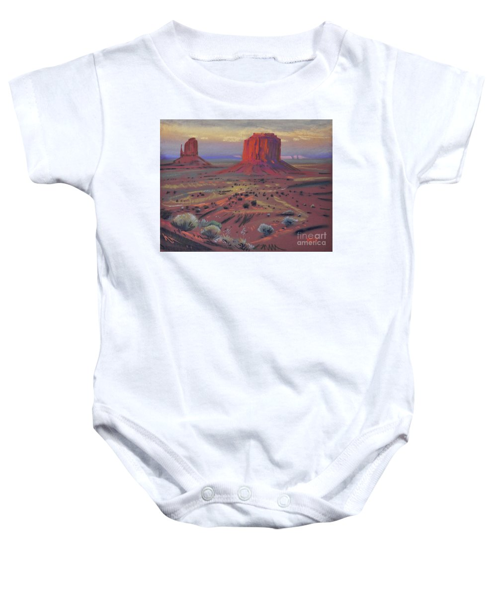 Monument Valley Baby Onesie featuring the painting Sunset In Monument Valley by Donald Maier