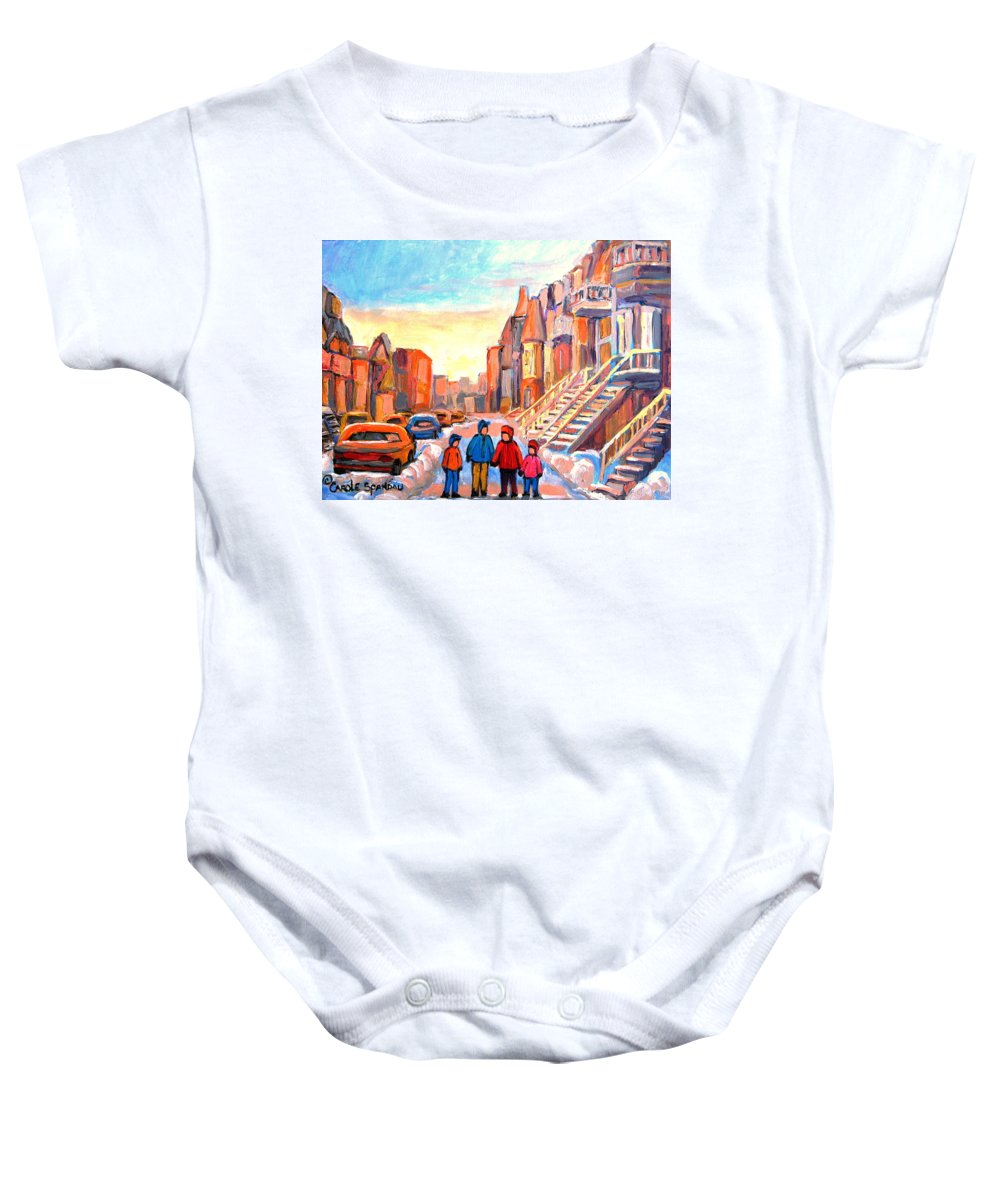 Sunset On Hotel De Ville Montreal Baby Onesie featuring the painting Sunset On Hotel De Ville Street Montreal by Carole Spandau