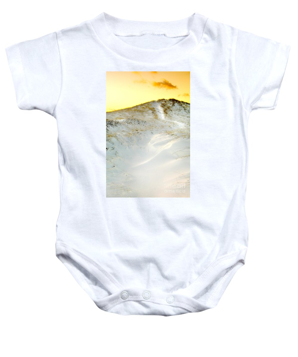 Snow Baby Onesie featuring the photograph Sunset Over Snow Dune In Cape Cod by Matt Suess