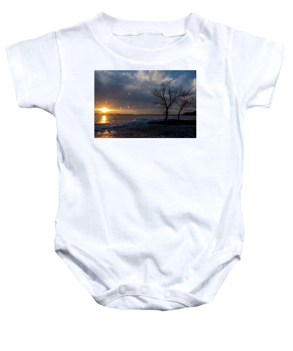 Wisconsin Baby Onesie featuring the photograph Sunset Over The Mississippi In Wisconsin by Jessica Michaels